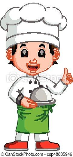 chef cuistot, garçon, dessin animé - csp48885946