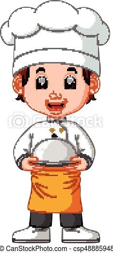 chef cuistot, garçon, dessin animé - csp48885948