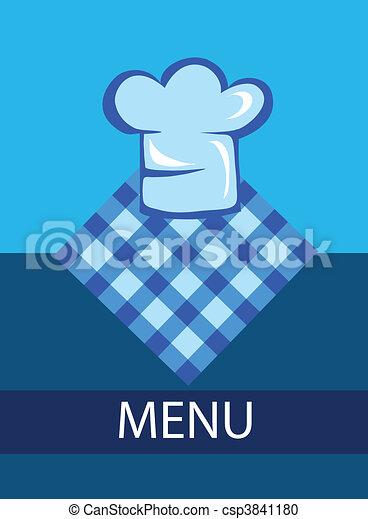 chef cuistot, menu, chapeau, gabarit, restaurant - csp3841180