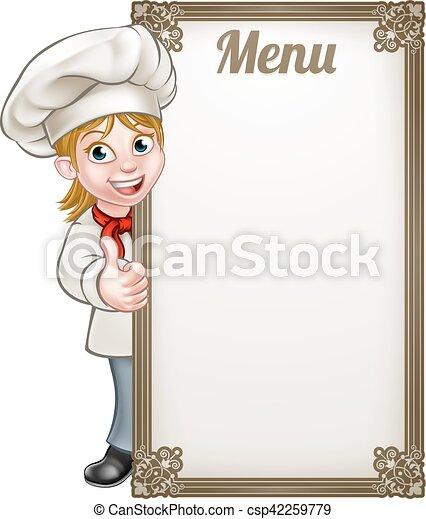Chef Cuistot Menu Femme Dessin Animé Femme Donner Menu