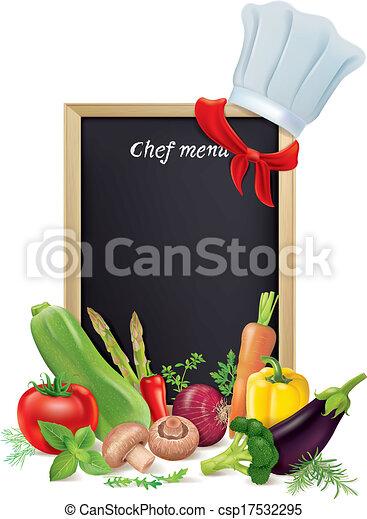 chef cuistot, menu, légumes, planche - csp17532295