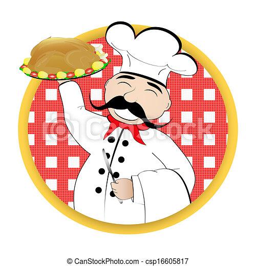 chef cuistot, plaque, poulet - csp16605817