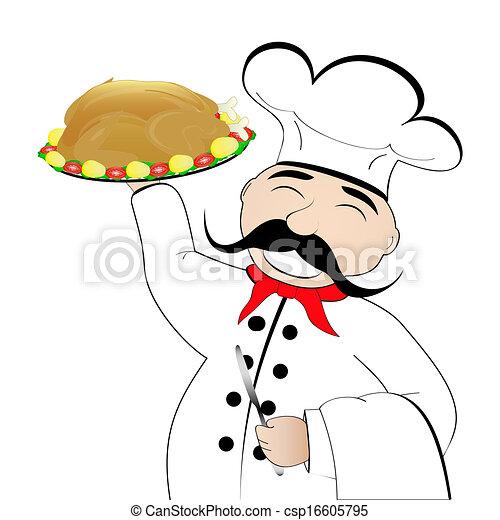chef cuistot, plaque, poulet - csp16605795