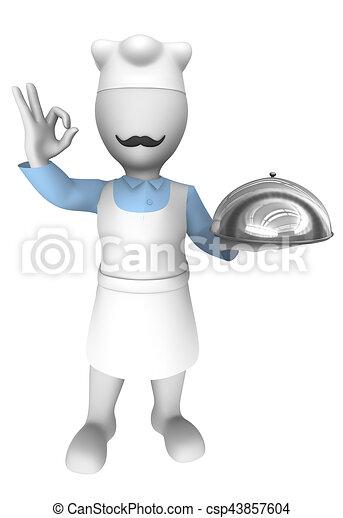 Chef Cuistot Plateau Cuisine 3d