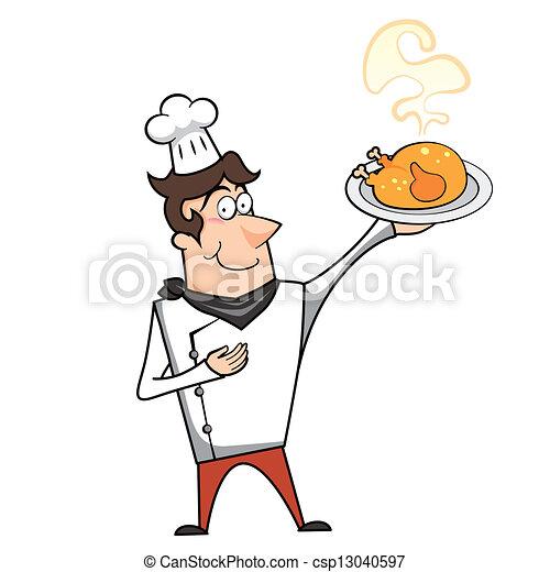 Chef cuistot poulet dessin anim r ti illustration chef cuistot vecteur poulet r ti - Dessin de poulet roti ...