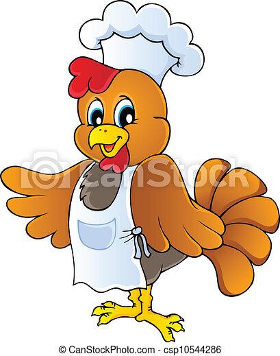 chef cuistot, poulet, dessin animé - csp10544286