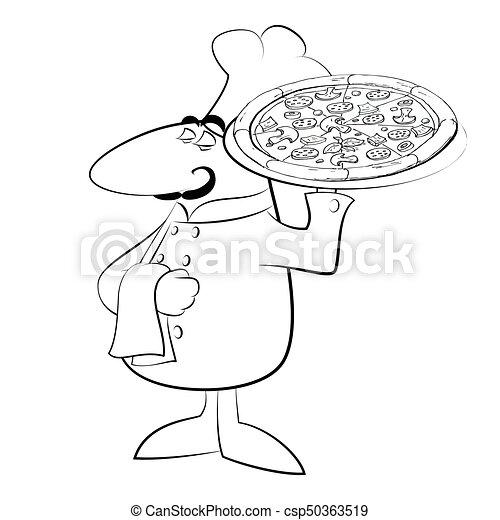Chef, divertido, cocinero, pizza. Divertido, silueta, illustration ...