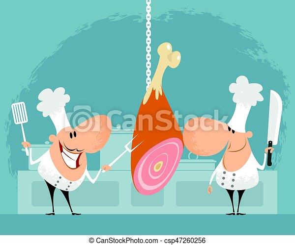 Chef, due, cucina. Chef, vettore, due, illustrazione, cucina vettore ...