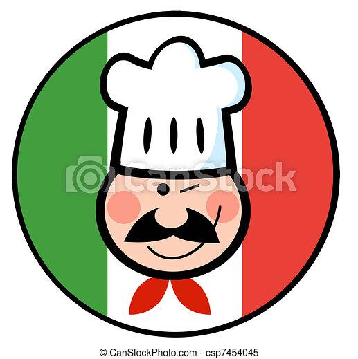 Chef Face Over An Italian Flag  - csp7454045