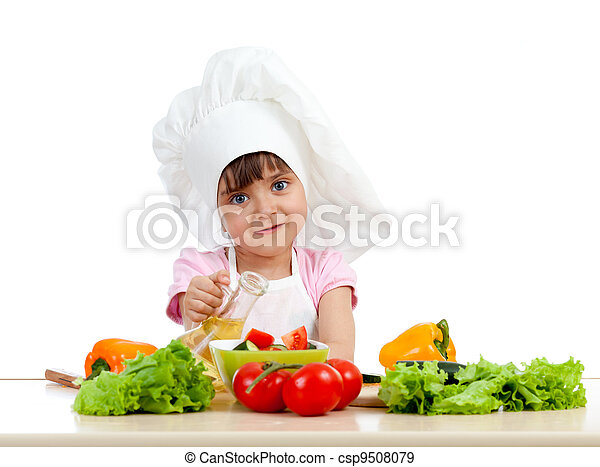 Chef girl preparing healthy food over white background - csp9508079