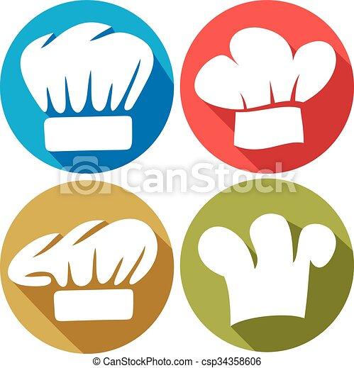 chef hat flat icons - csp34358606