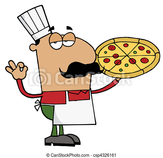 chef, hispano, hombre de pizza - csp4326161