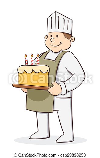 Chef Holding Birthday Cake Vector Illustration Of Chef Holding
