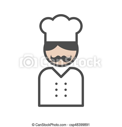 Chef icon with a moustache on white background - csp48399891
