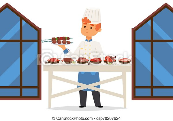Chef in meat restaurant presents different dishes, people vector illustration - csp78207624