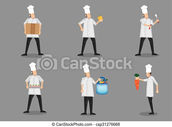 Line Art Uniform : Chef in white uniform and toque vector character clip art