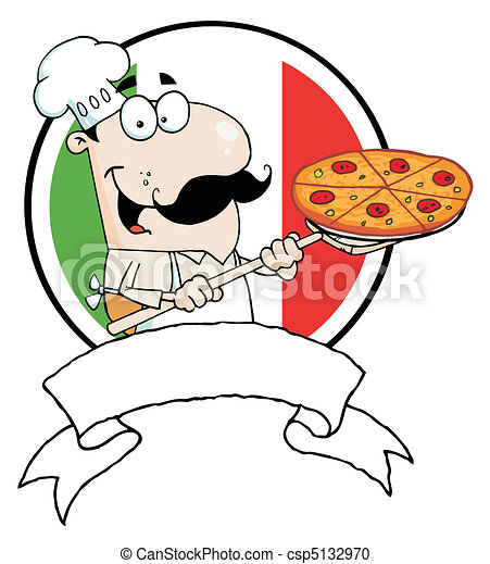 Chef Inserting A Pepperoni Pizza - csp5132970