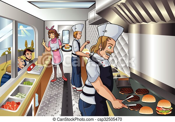 Chef Inside A Food Truck Vector