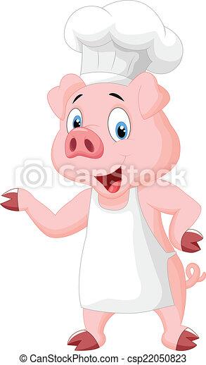 chef, maiale, presentare, cartone animato - csp22050823