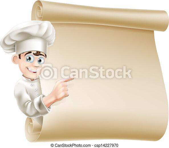 Chef de dibujos animados y menú - csp14227970