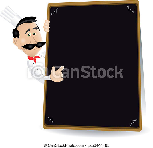 Chef Menu Holding A Blackboard Showing Today's Special - csp8444485