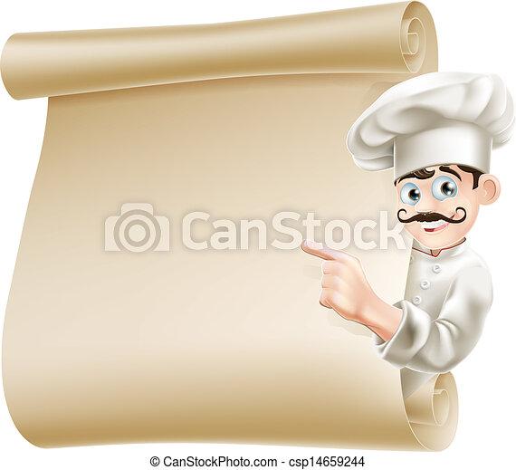 Chef pointing at menu - csp14659244