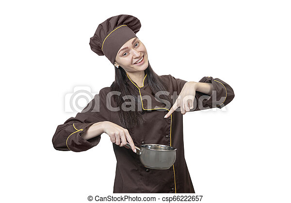 chef points to the pot - csp66222657