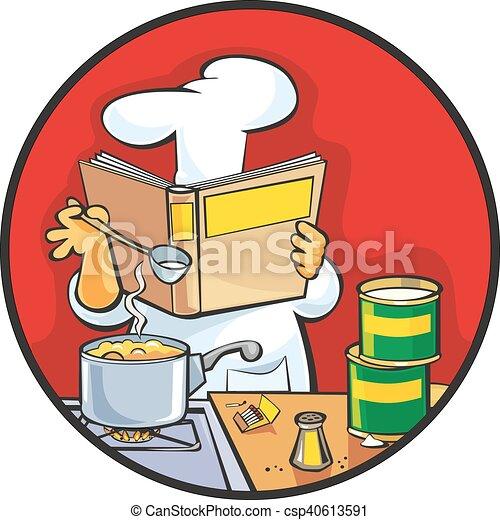 Chef preparing soup and reading recipe cookbook. - csp40613591