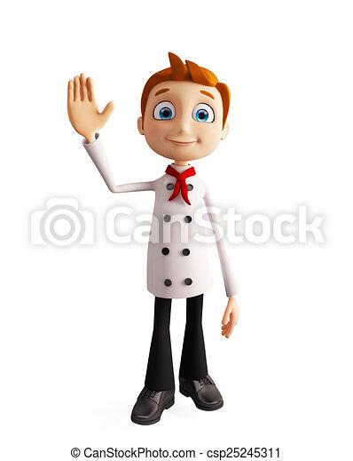 """El personaje del chef diciendo """"hola pose - csp25245311"""