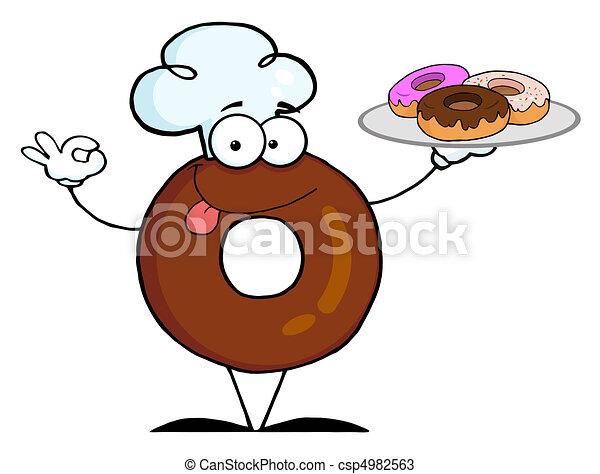 chef, rosquilla, amistoso, caricatura - csp4982563