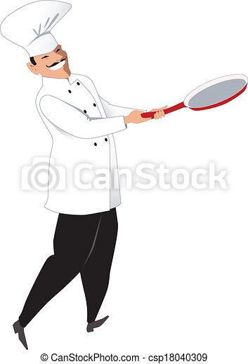 chef, sartén - csp18040309