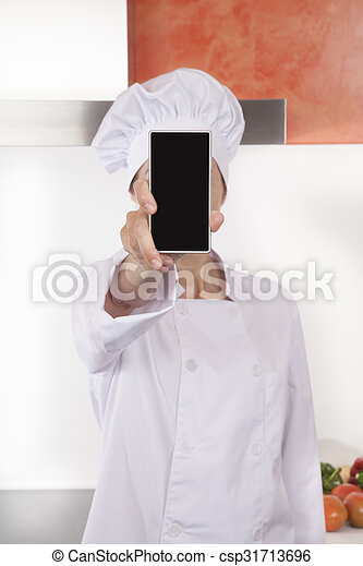 chef showing screen blank phone - csp31713696