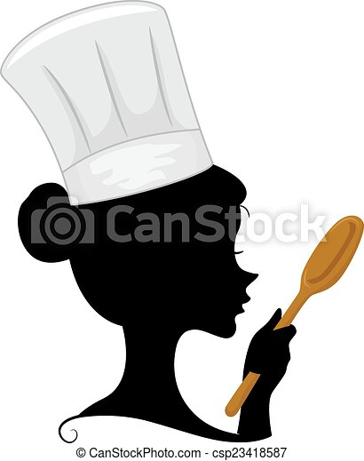 chef silhouette illustration featuring the silhouette of a rh canstockphoto com Chef Cooking Clip Art Chef Menu Clip Art