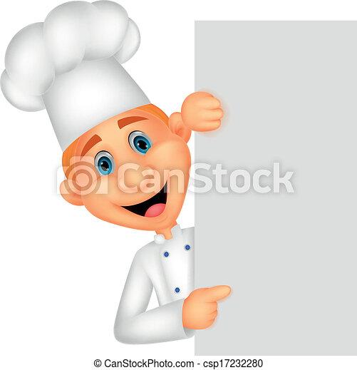 Chef Silicio Presa A Terra Vuoto Cartone Animato Felice