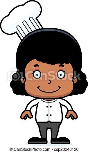 Una chef sonriente de dibujos animados - csp28248120