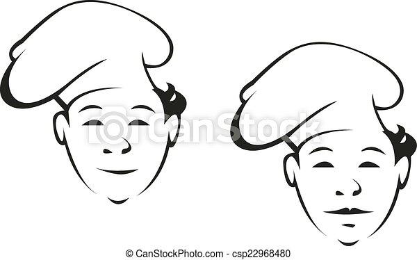 chef, sonriente, joven, toque - csp22968480