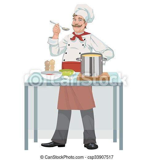 chef, sopa, sonriente - csp33907517