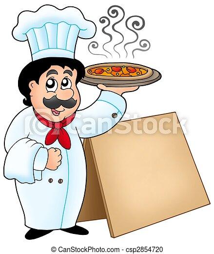 Chef sosteniendo pizza con mesa - csp2854720