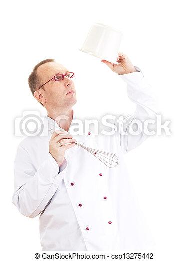 Chef con bigote y tazón - csp13275442