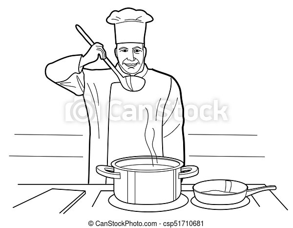 Chef Tries Soup Cooking Process With Figures Table In Restaurant Chef Stirs The Soup Cooking Process With Figures At The