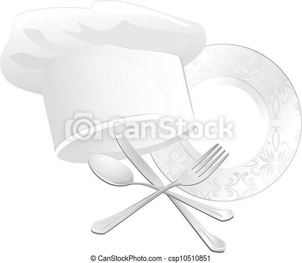 chef, utensili cucina, cappello - csp10510851