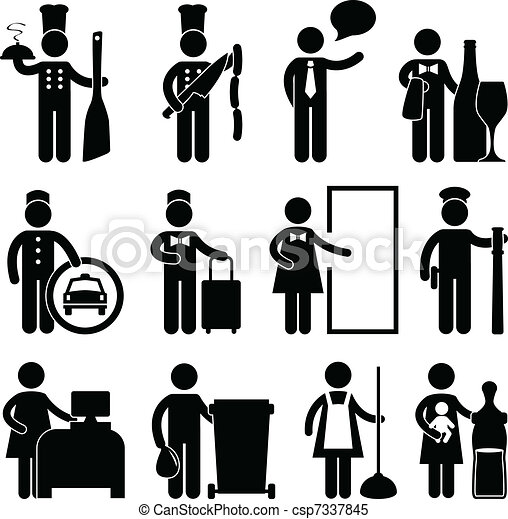 A Set Of Hotel And Restaurant Jobs Occupation In Pictogram