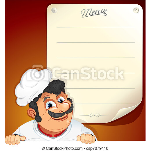 Chef with Blank Menu - csp7079418