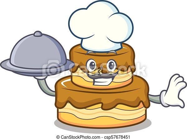 Chef with food birthday cake mascot cartoon - csp57678451