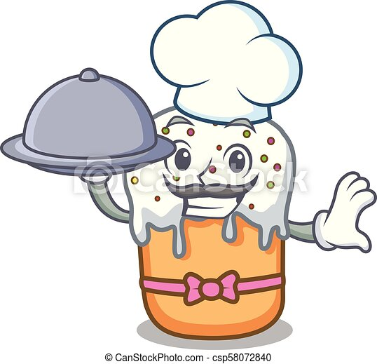Chef with food easter cake mascot cartoon - csp58072840