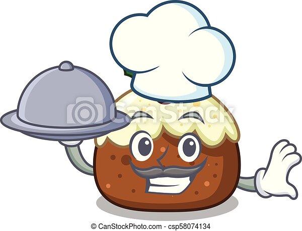 Chef with food fruit cake mascot cartoon - csp58074134