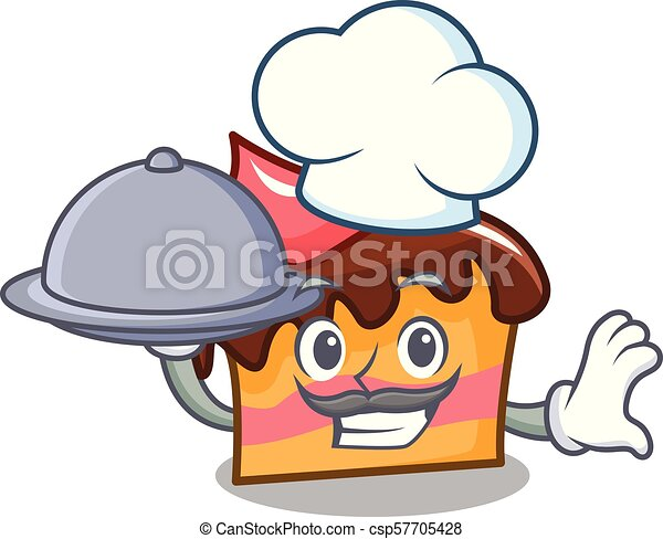 Chef with food sponge cake mascot cartoon - csp57705428