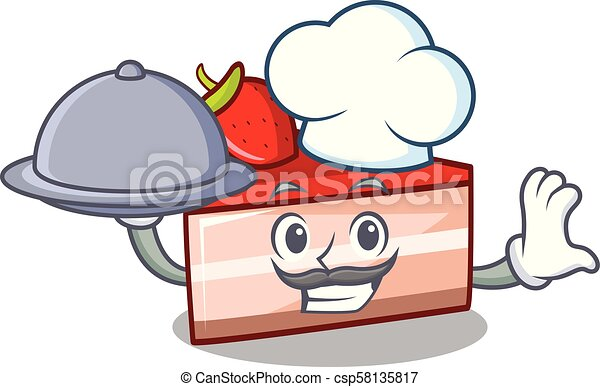 Chef with food strawberry cake mascot cartoon - csp58135817