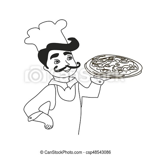chef with pizza - doodle Illustration - csp48543086