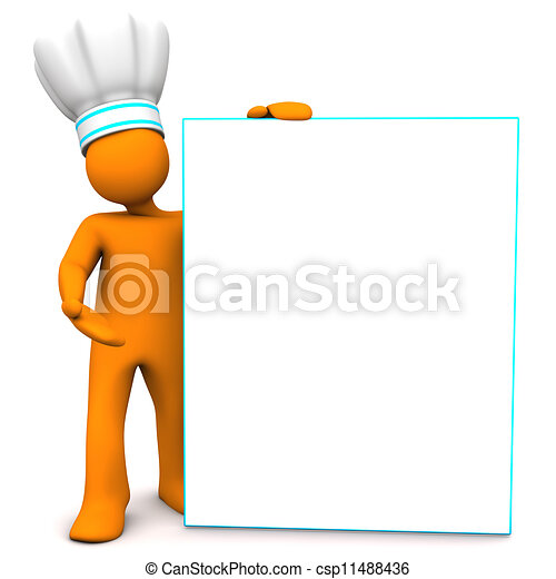 Chef With Sign Board - csp11488436